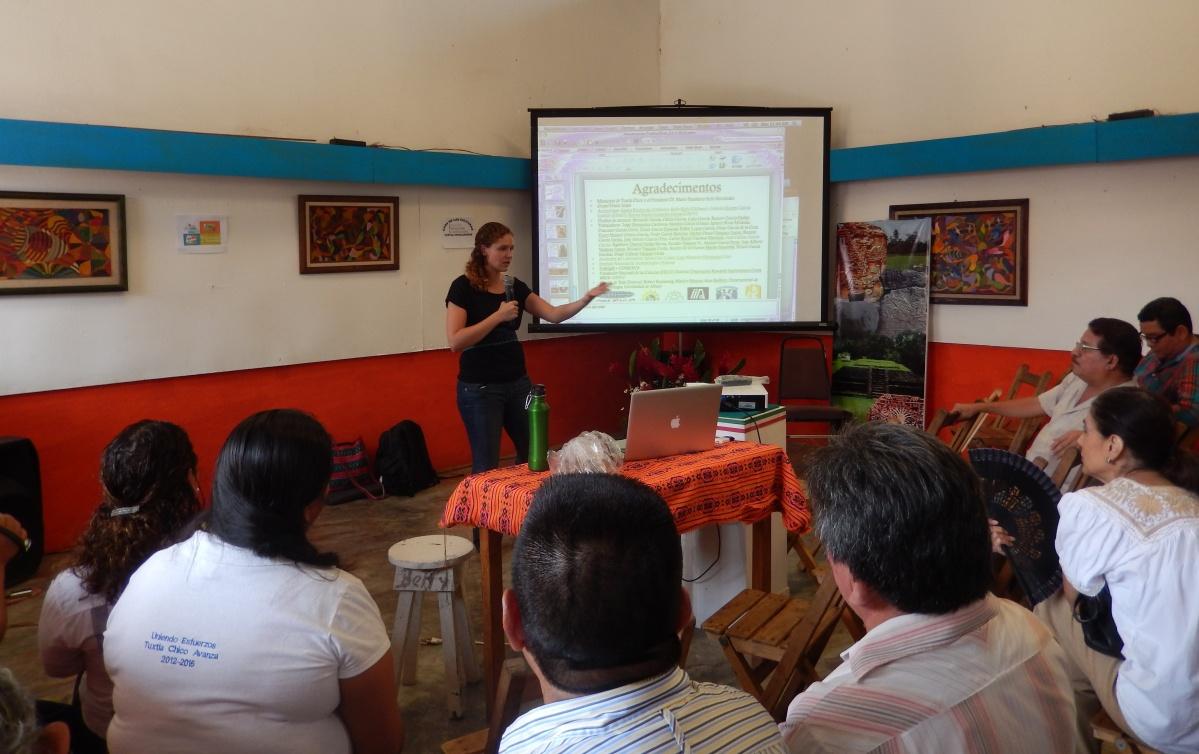 Presenting to Izapa community members in 2014