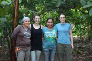 Arachaeologist/student collaborators Gabriela Galicia, Kelly Rich, Royma Gutierrez, and Saskia Kuchnicki